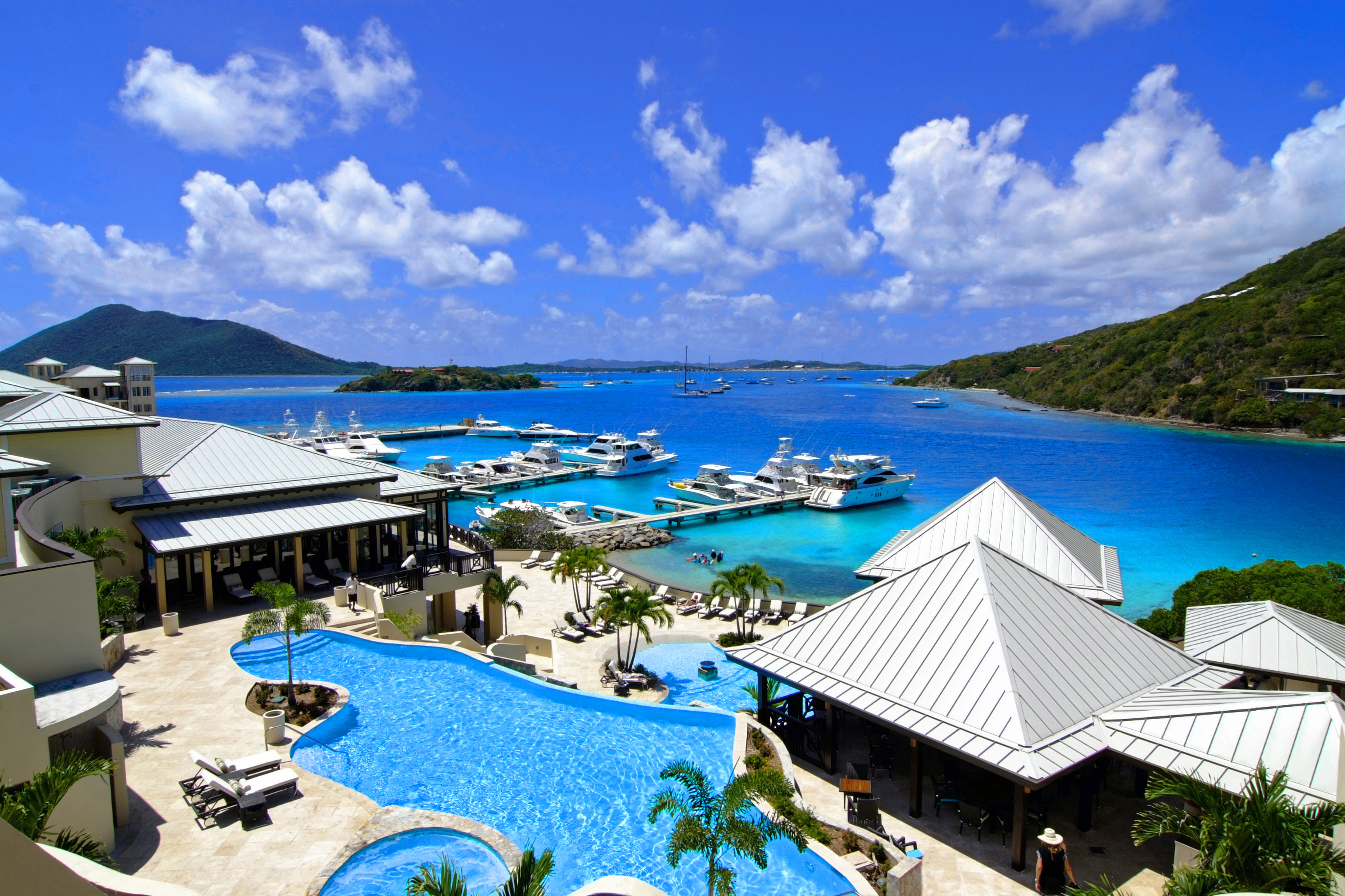 British Virgin Islands, SCRUB Island,wide OVERVIEW pools to marina & sea